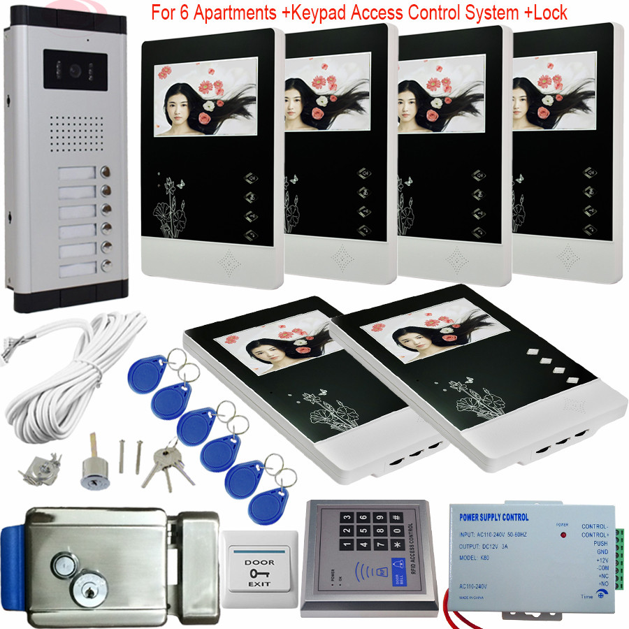 6 Appartements Vidéo Interphone Avec Serrure Électronique 4.3 Pouces Vidéo Porte téléphone 6 Moniteurs + Contrôle D'accès Système IR Nuit Vision Kit