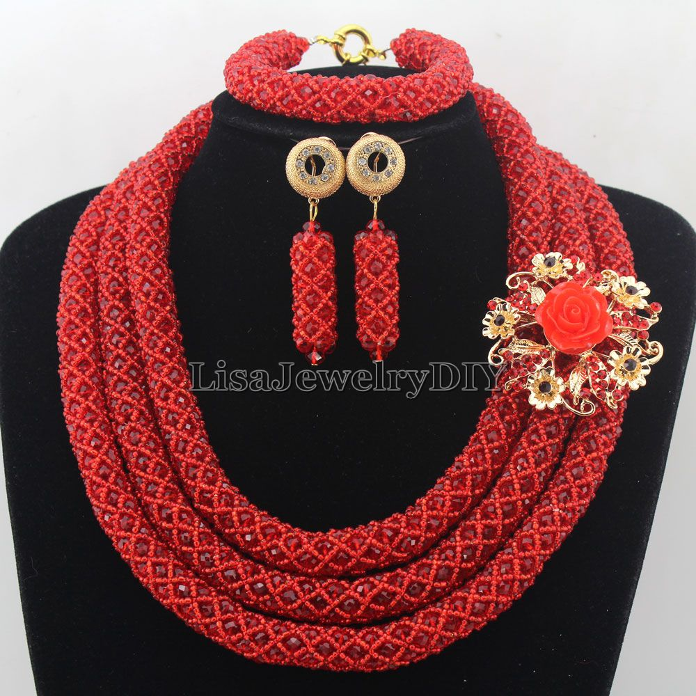 Charming Statement Necklace Nigerian Wedding African Beads Bridal Jewelry Set Crystal Jewelry Set Womens Jewellery Set HD7274