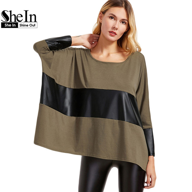 SheIn Casual Loose Women Tops Womens Long Sleeve Tops Brown Contrast Coated Panel Dolman Sleeve Oversized T-shirt