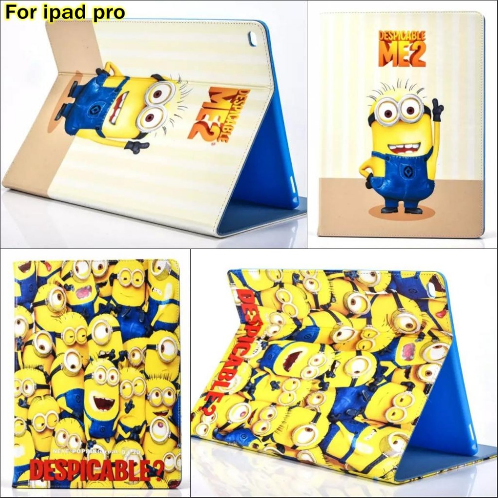 Fashion Cartoon Despicable Me Minion Character PU Leather Stand holder Case Cover For Apple ipad Pro 12.9 With pen gift