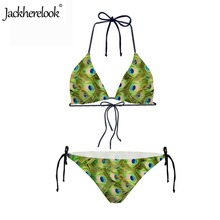 Jackherelook Halter Bandage Beach Wear Sexy Peacock Feather 3D Print Two Pieces Bikinis Set for Wome