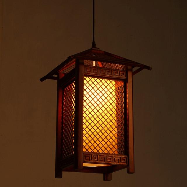 Chinese Solid Wood Lantern Pendant Lights Retro Living Room Hotel Restaurant Corridor Aisle Loft Lighting