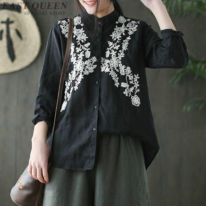 2 4 Stand 3 Vintage Bordado Primavera Elegante Manga 5 F 1 Camisas Floral Tops Camiseta Aa3423 De Mujeres Collar En Nueve Cuarto Top 1fxHnn