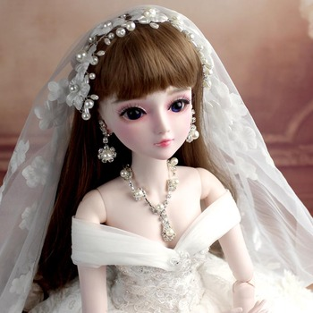 SEOYO 24inch 60cm Handmade makeup wedding bride bjd doll full set of joints changeable girl children creative gifts only 10 girl