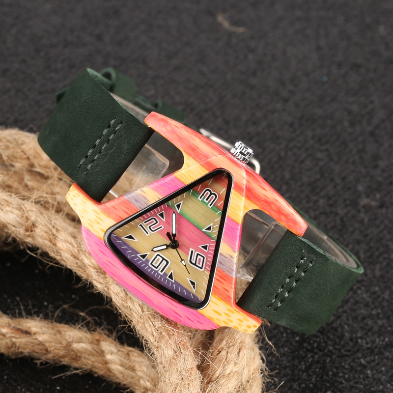 Unique Colorful Wood Watch Creative Triangle Shape Dial Hour Clock Women Quartz Leather Bracelet Watch Women's Wrist Reloj Mujer