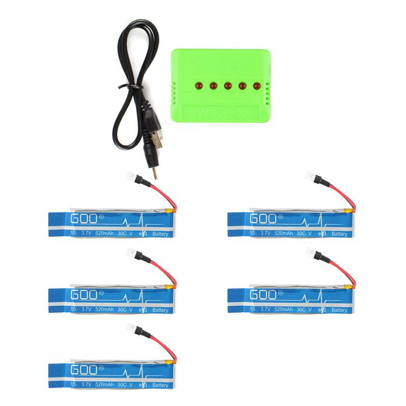 5 in 1 USB Charger and 5pcs 3.7V 520mAh 30C Upgraded Battery for WLtoys V930 V977/ XK K110 RC Helicopter Spare Parts accessories v966 004 main blade clip parts for wltoys v966 v977 rc helicopter