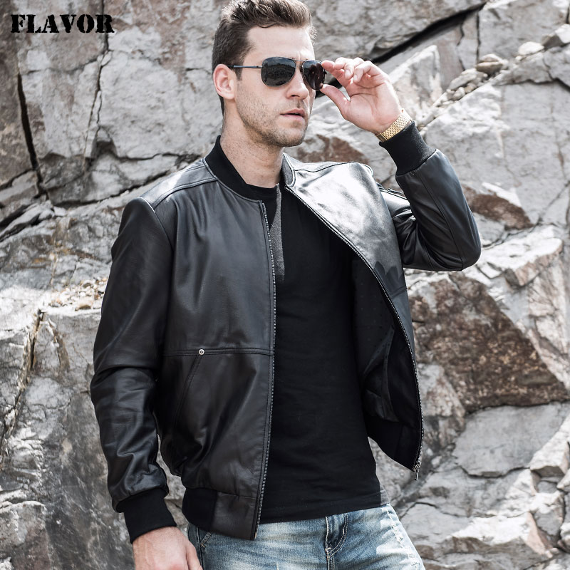 FLAVOR Men's Real Leather Jacket Men Baseball Cowhide Genuine Leather with Rib cuff