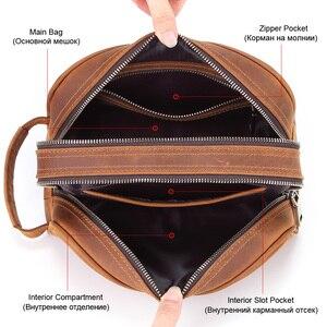 Image 4 - Trousse de toilette en cuir véritable vintage en cuir véritable pour hommes, sac de maquillage de voyage, sac de toilette à main