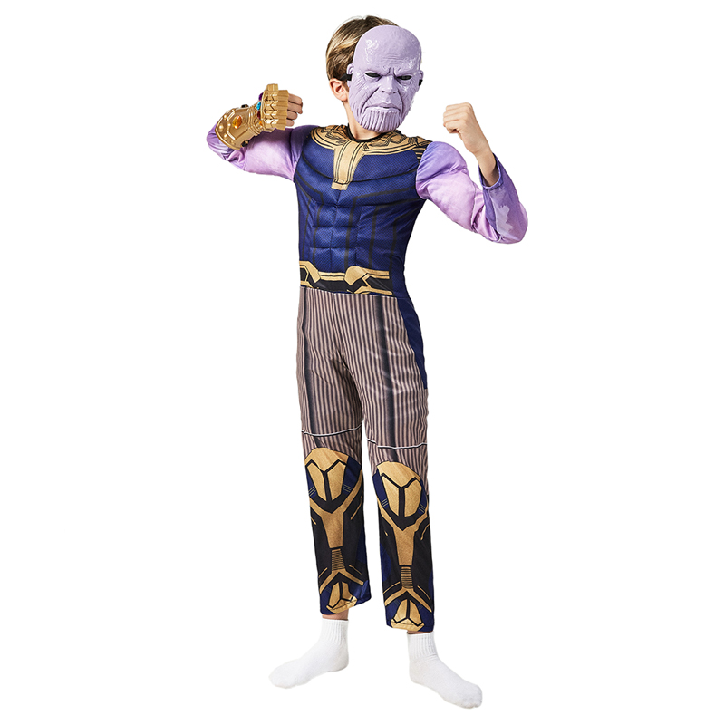 Child Boys Muscle Thanos Marvel Movie Infinity War Super Villain Kids Halloween Fancy-Dress Carnival Party Cosplay Costume