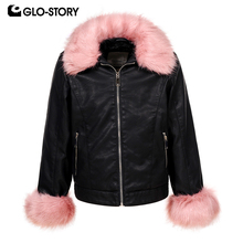 GLO-STORY 2018 Winter Jackets Girl Leather Jackets Faux Leather with Fur Collar For Girls Kids Coats For Girls GPY-6774