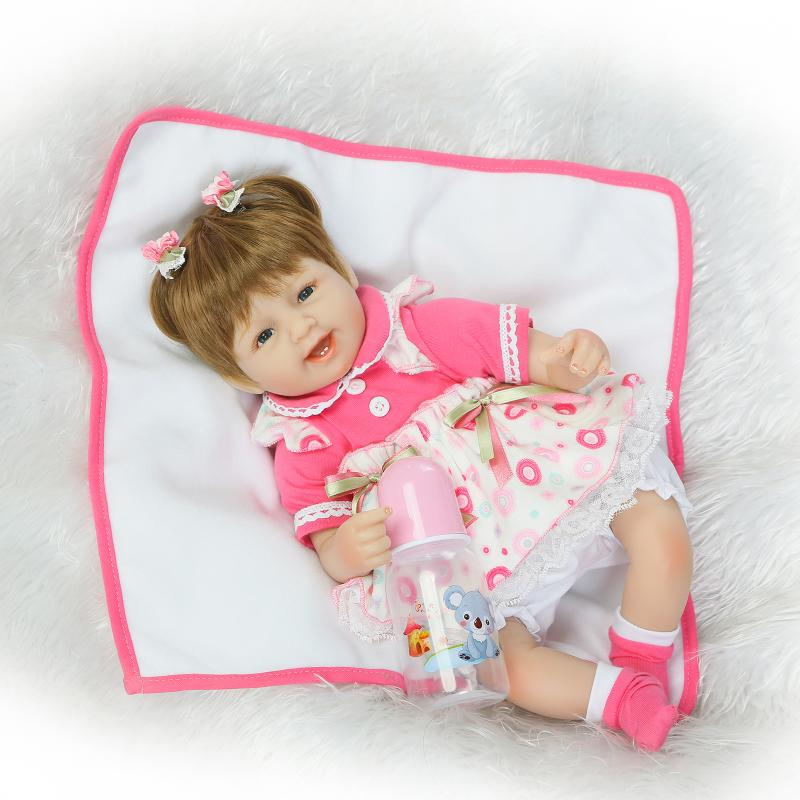 17 inch lifelike reborn lovely baby doll Laugh soft realistic reborn baby playing toys for kids Christmas Gifts Bonecas