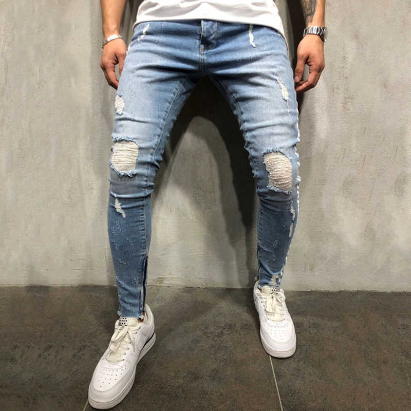 0199f4ce Streetwear Men hip hop Side white strip skinny jeans Distressed Knee Holes  Ripped high quality Stretch