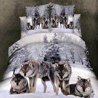 3D Wolf beddengoed set queen kingsize 4 stks Animal print doona quilt/dekbedovertrek laken beddengoed set katoen thuis textiel