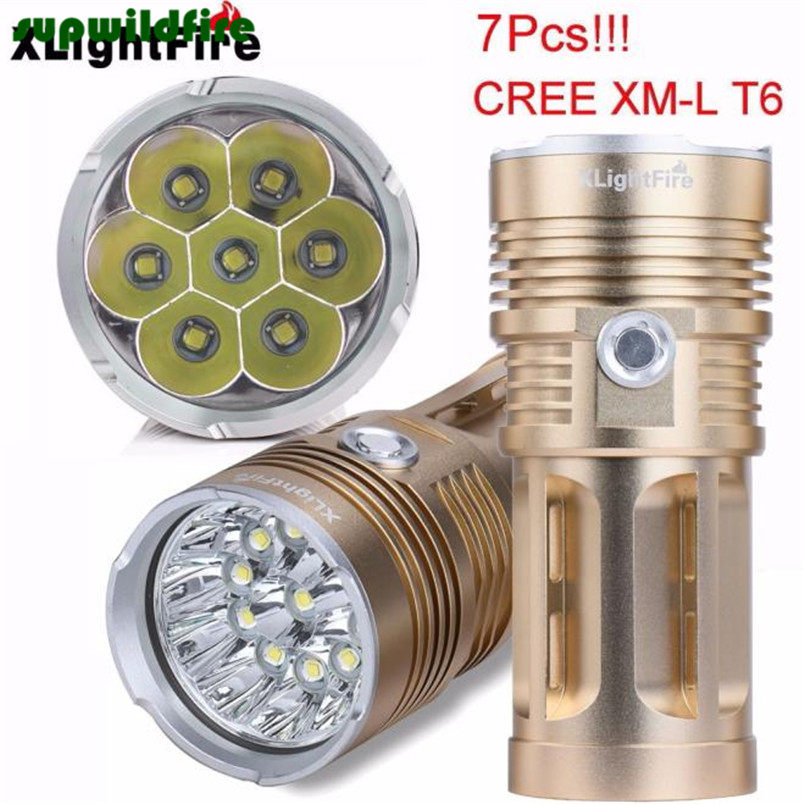 XLightFire 16000LM 7 x CREE XM-L T6 LED Hunting Flashlight 4 x 18650 Lamp Torch Free Shipping #NO12