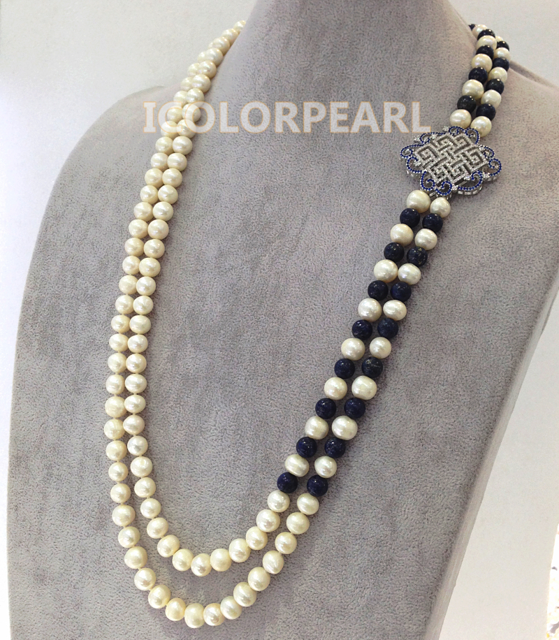 70-75cm Two-Strand White Natural Freshwater Pearl ,Lapis lazuli With Nice Chinese Knot Crystal Jewelry Sweater Necklace. светоотражатель lastolite 75cm sunfire white ll lr3006