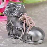 Retro Ancient tin color shoes piggy bank cash box for money alloy metal cute urns storage box for money saving box SNG013