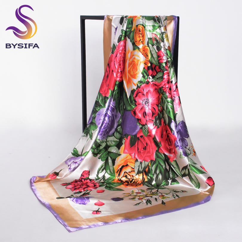 [BYSIFA] Ladies Khaki Square   Scarves     Wraps   90*90cm Muslim Women Headscarves Spring Autumn All-match Female Neck   Scarf   Silk   Scarf