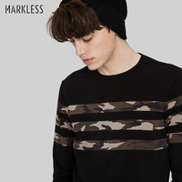 Markless 2017 Spring Autumn T Shirt Men Long Sleeve O Neck Casual T Shirt Casual Camouflage