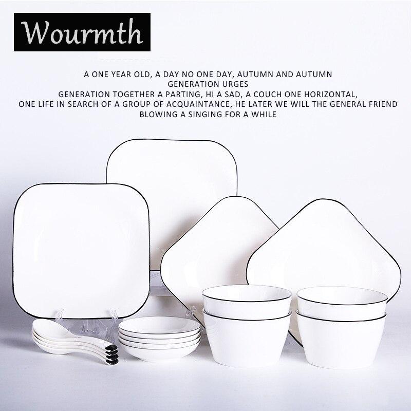 Wourmth vaisselle en céramique créative 16 pièces hôtel bol assiette ensemble maison petit déjeuner assiette salade bol japonais cadeau vaisselle ensemble