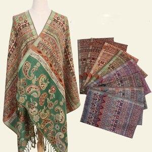 Image 5 - Paisley Tippet Aus Indien Winter Schal Ethnische Schals Mode Stola Baumwolle Indische Echarpe 190*70 cm