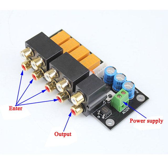 aiyima rca audio switch input selection board lotus seat stereo relay 4 way audio input signal selector switching amplifier diy