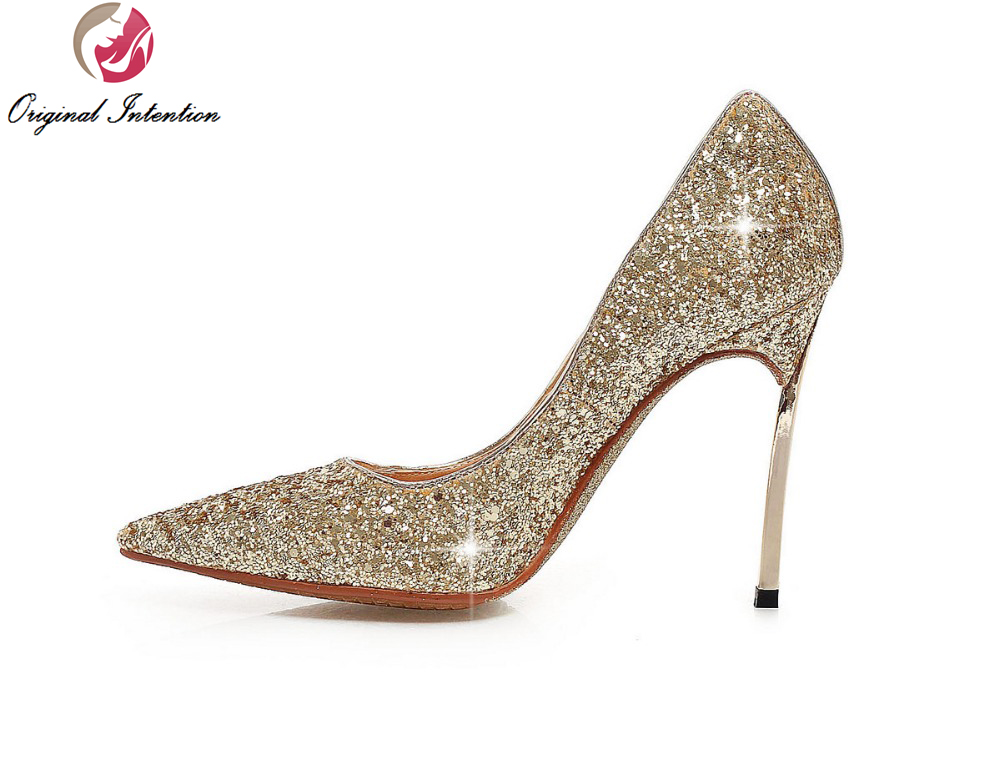 Original Intention Women Pumps Glitter Pointed Toe Thin Heels Pumps Black Blue Red Gold Silver Shoes Woman Plus Size 3.5-10.5 gold sliver shoes woman for 2016 new spring glitter bling pointed toe flats women shoes for summer size plus 35 40 xwd1841