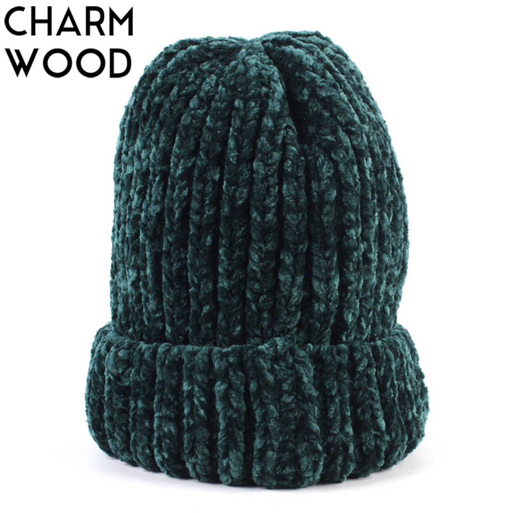 Winter Beanie Hat New Mixed Color Handmade Crochet Slouchy Beanie For Women And Men Autumn Hair Coarse Thick Skullies