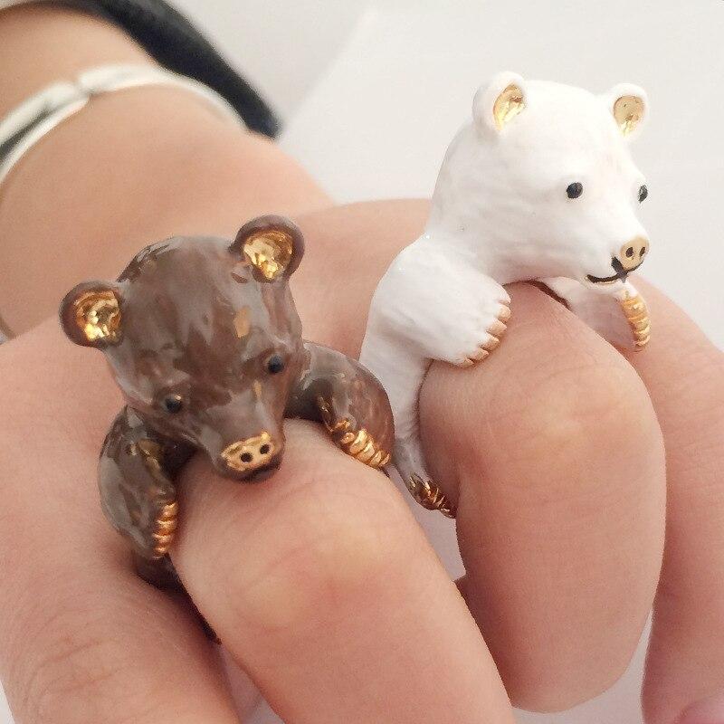 3D Enamel Glaze Animal Bear Rings Women Wedding/Party/Dance Open Adjustable Women Rings Jewelry Accessories