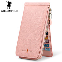 Williampolo Genuine Leather Women Wallet Pink Kawaii Zippy Long Card Holder Phone Wallet Fashion Handy Purse portefeuille femme