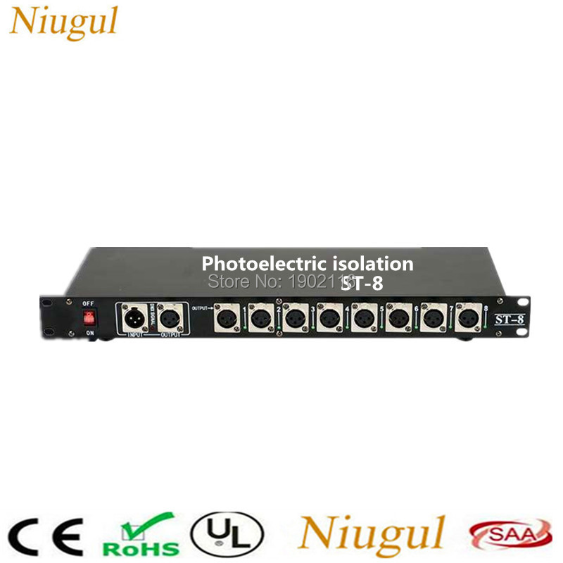 Photoelectric isolation 8CH DMX Splitter DMX Stage Light Signal Amplifier Splitter 8 Way DMX Distributor With Optical Isolation dhl fedex free shipping best quality 8ch dmx splitter dmx512 light stage lights signal amplifier splitter 8 way dmx distributor