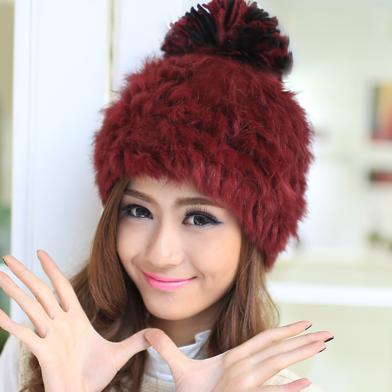3bbc8e1eb0e0 Elegant Women Hat Winter   Fall Beanies Knitted Hats For Woman Rabbit Fur  Cap Autumn And Winter Ladies Female Fashion Skullies