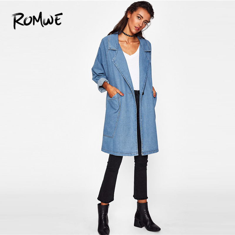 ROMWE Front Patch Pockets Longline Denim Coat Women Casual Long Blue Jean Coat 2018 Fashion Autumn Fall Collar Coat 1