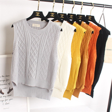 2016 Winter Women's Jumper Rhombus Side Strip Pullover Sexy Sweaters Knitted Vest Female Match-all Casual Loose Sweater jumper