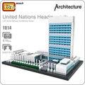 Loz mini bloques de ladrillos de juguete de plástico de la sede de las naciones unidas edificio famoso arquitectura casa modelo diy regalos para los niños 1014