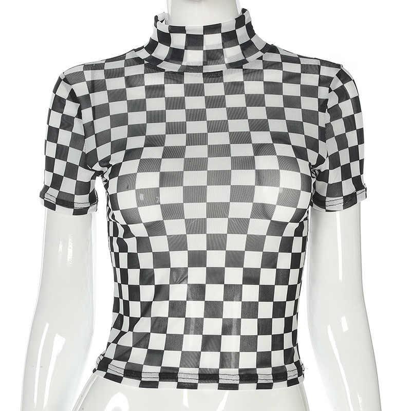 162cb97e4ce ... Checkerboard T shirt Turtleneck Bodycon Pattern Mesh Sheer Top Short  Sleeve Sexy Club Girl Funny T