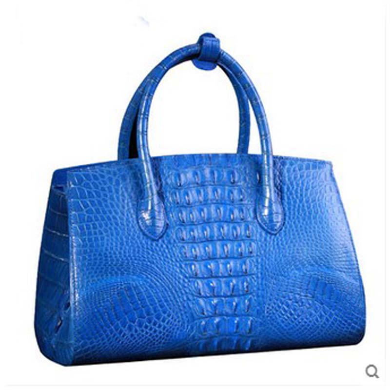 heimanba crocodile leather women handbag women bag summer electric light blue crocodile bag European and American women bag