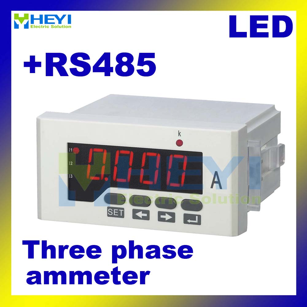 LED Three phase digital ampere meter HY-3AA series ac digital meter Class 0.5 digital current meter with RS485 communication цены