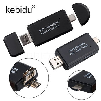 Kebidu 3 in1 OTG Type-C Card Reader USB 2.0 USB A Micro USB Combo to 2 Slot TF SD Type C Card Reader for Smartphone PC
