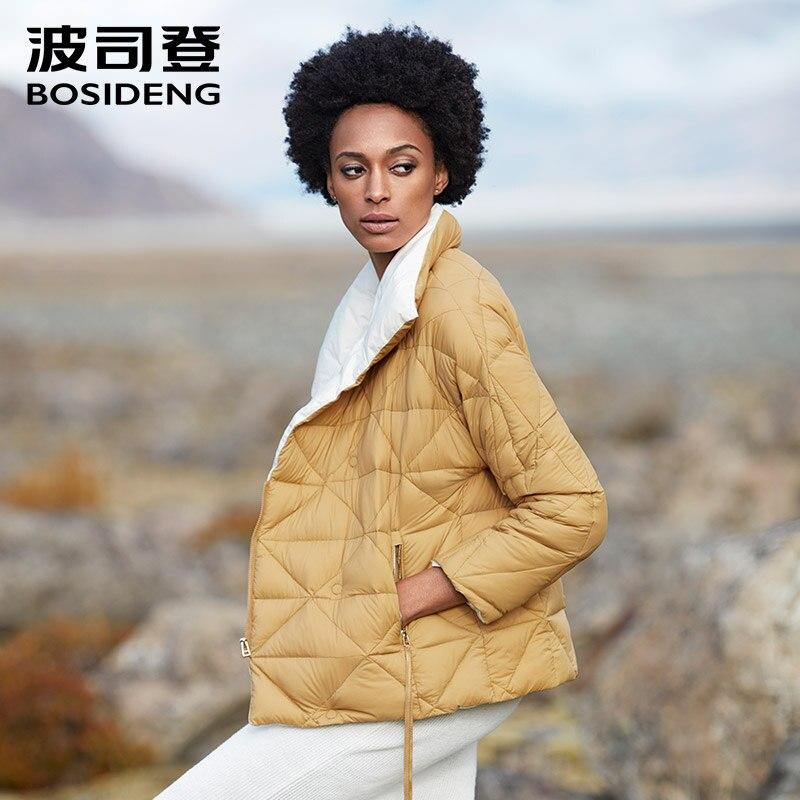 BOSIDENG novo goose down jacket para as mulheres da moda para baixo casaco de inverno fivela magnética grande gola de ultra luz outerwear B80131110