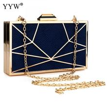 Zinc Alloy Clutch Bag Snakeskin Evening Bags Box Women Geometric Chain Shoulder Female Party Wedding Clutches Purse Red New