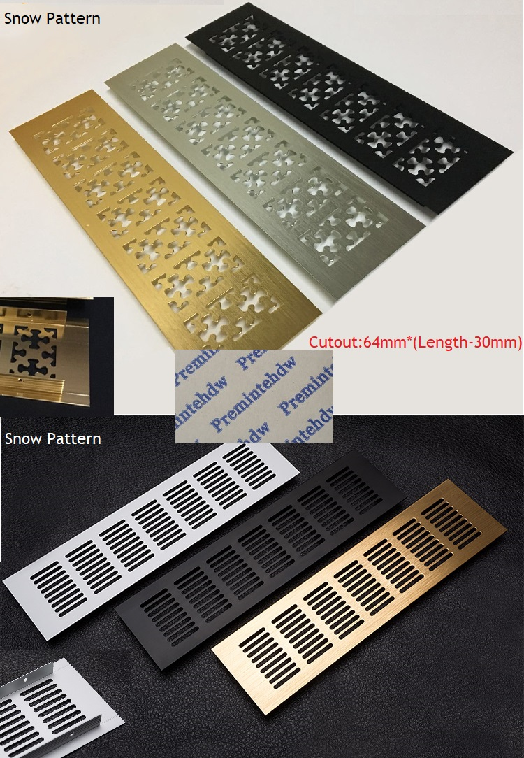 2Pcs/Lot Snow Flower Grid Rectangle Gold Silver Black Aluminum Air Vent Grille Cover Furniture Shoe Closet Cabinet Flush