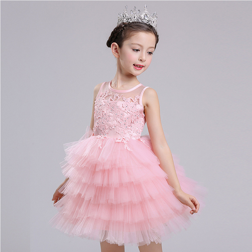 ФОТО layered tutu little girl party dresses evening show summer spring lace pink sleeveless ball gown teenage girl party dress 2017