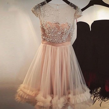 Beaded Bridesmaid Dresses For Wedding Party Dress Knee Length Tulle Bridesmaid Gowns Sheer O Neck Capped Sleeves vestidos largos