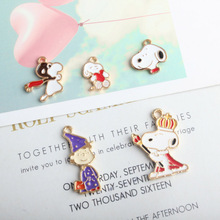 10pcs Cartoon Dogs Boys Enamel Charms Drop Oil Animal Dog Pandents Fit Earrings Necklace DIY Jewelry Material Ornament YZ415