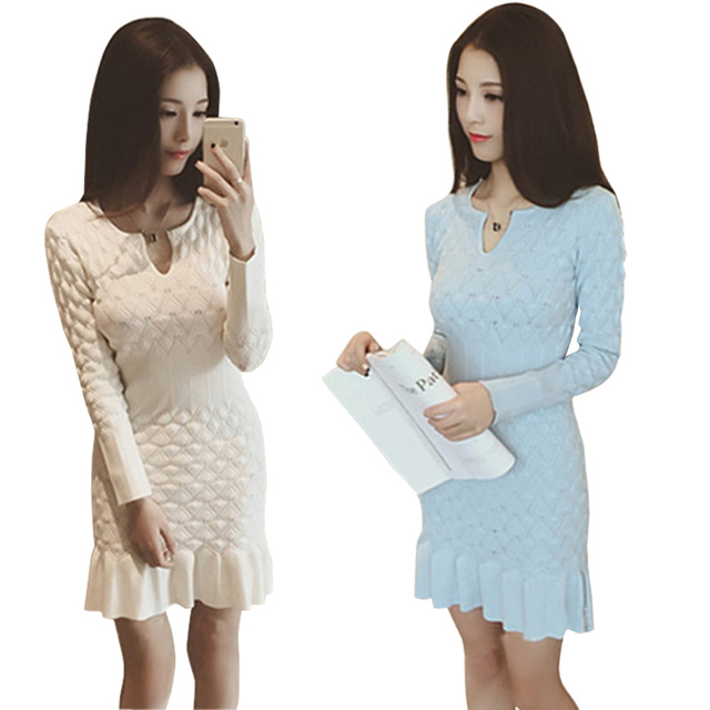 750d85f12d5e solid color white black blue sweater dresses knitted dress plunging ...