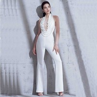 wholesale 2018 new Rompers White deep V neck Backless Pearl decoration Sexy celebrity celebrity Party Jumpsuits (H2780)