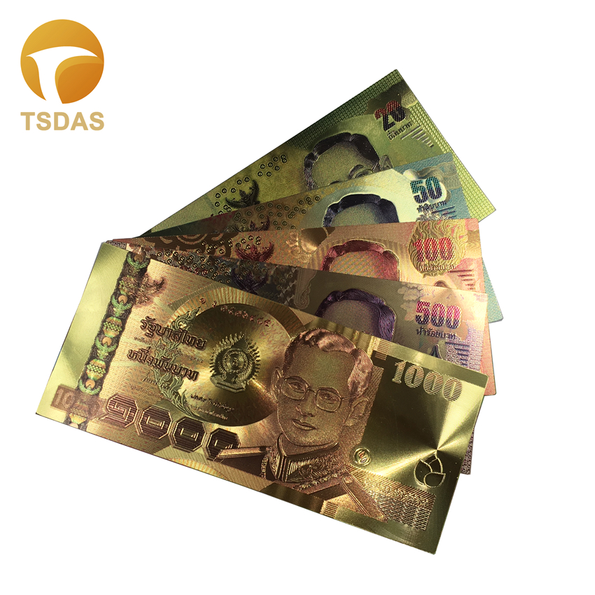 Colorful Gold Banknote Rare Thailand Set 20 50 100 500 1000 fake Money Plated Colour Gold