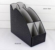 4 slot wood leather desktop office file document stationery tray rack file stand organizer pen holder