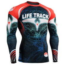 2016 MMA Rash Guard for swimming Good Looking  Men's Long sleeves Sublimated Rash Guards all over printing clothes