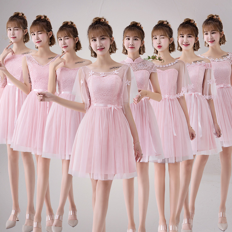 Sweet Memory 2018 Pink Bridesmaid Dresses Purple Cheap Short Bridesmaid Dress Sw0030 White Pink Grape Champagne Bridesmaid Dresses Weddings & Events